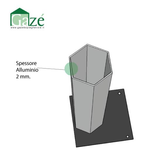 Disegno tecnico della sezione gamba gazebo pieghevole - GAZE'