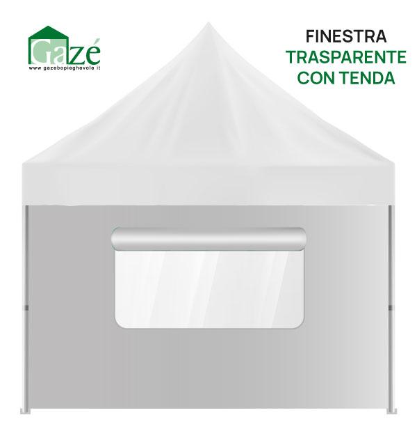 Gazebo pieghevole parete con finestra e tenda in crystal PVC trasparente